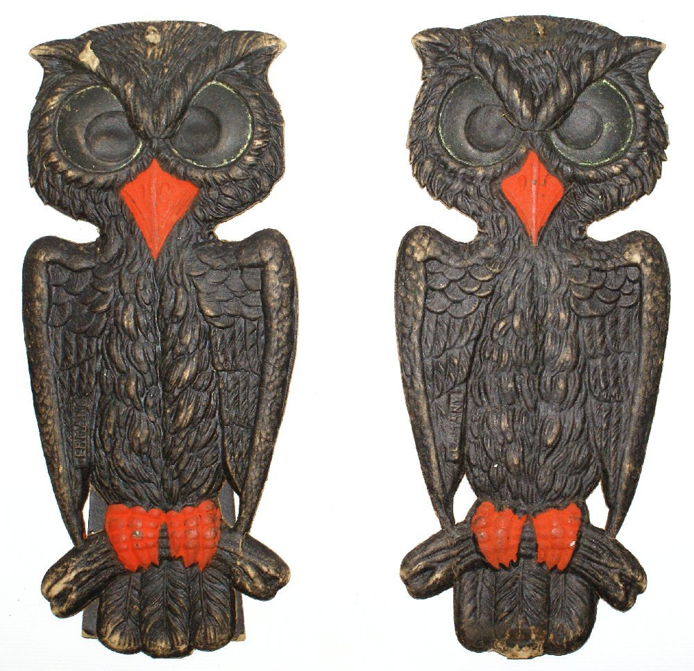 Set of 1920's Heavily Embossed Diecut HALLOWEEN Owls & - 3