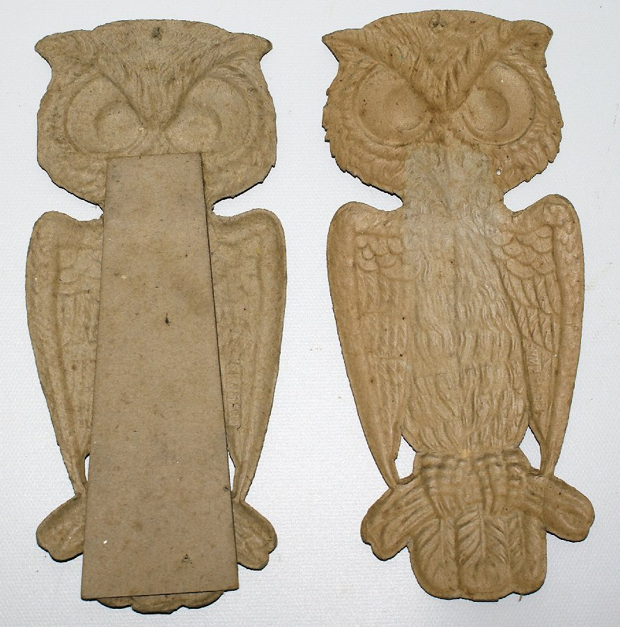 Set of 1920's Heavily Embossed Diecut HALLOWEEN Owls & - 5