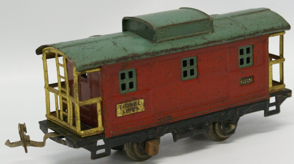 PREWAR O Gauge LIONEL #807 Red / Green Train Caboose