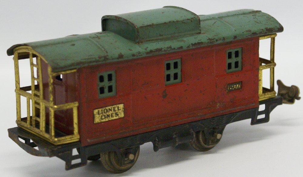 PREWAR O Gauge LIONEL #807 Red / Green Train Caboose - 2