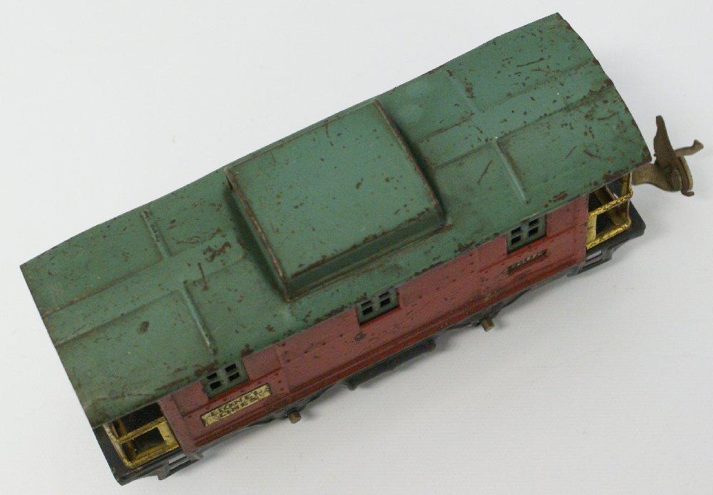 PREWAR O Gauge LIONEL #807 Red / Green Train Caboose - 3