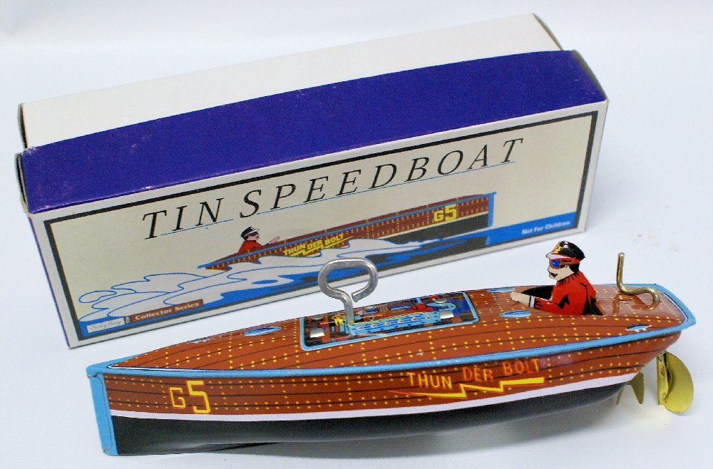 Tin Windup SCHYLLING 'THUNDERBOLT' G5 Boat with Driver