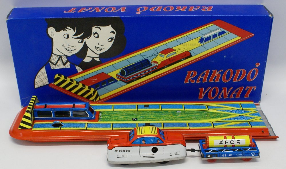 Tin Windup RAKODO VONAT (Hungarian) Toy Track Set in