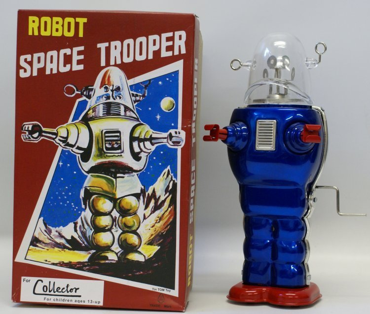 TIN TOM TOY Tin Crank Windup Blue ROBOT SPACE TROOPER