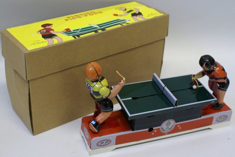 Style Tin Windup PLAYING PING PONG Toy #MS358 in Box