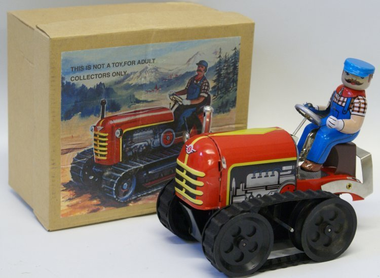 Style Tin Windup #MS356 Toy TRACTOR WITH DRIVER in Box