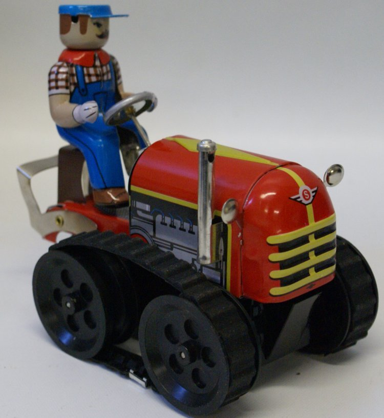 Style Tin Windup #MS356 Toy TRACTOR WITH DRIVER in Box - 2