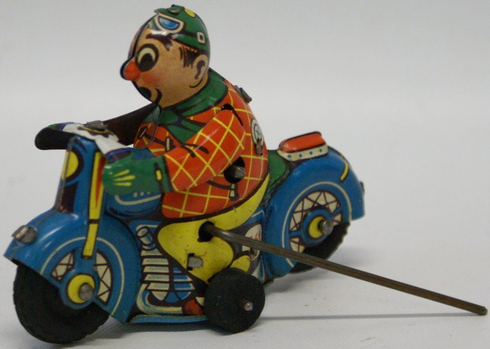 Huki #561 Tin Flip-over Motorcycle Driver, Hammer