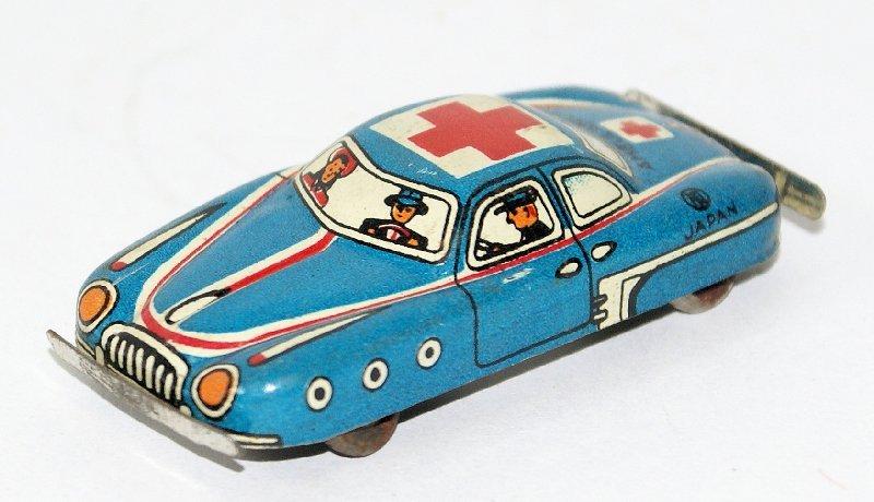 50's Tin Mini Penny Toy Ambulance Medic Car, Nomura