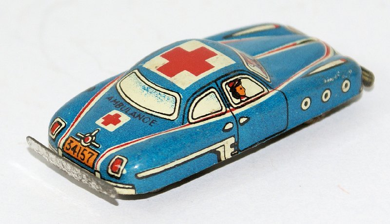 50's Tin Mini Penny Toy Ambulance Medic Car, Nomura - 2