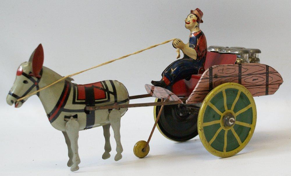 Tin Windup HEE HAW Donkey Pulling Milk Cart, Unique Art