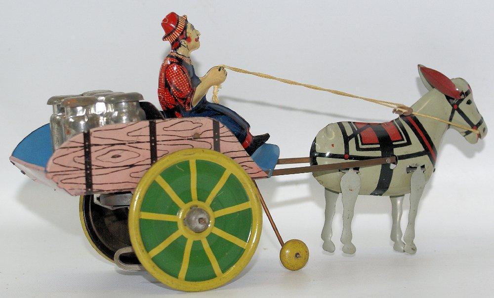 Tin Windup HEE HAW Donkey Pulling Milk Cart, Unique Art - 2