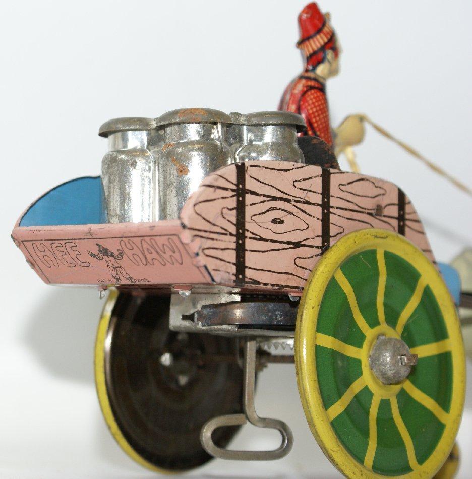 Tin Windup HEE HAW Donkey Pulling Milk Cart, Unique Art - 3