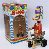 Reproduction Tin Windup DUCK ON BIKE in Original Box