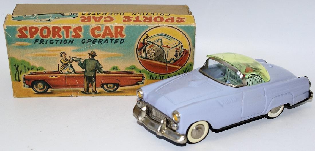 RARE 50s Tin Friction Ford Thunderbird Sports Car,
