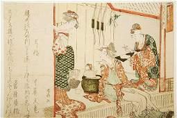 Shimsai (1789-1817)- SURMINO (TEA HOUSE SCENE AT YASHI