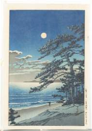 Hasui Kawase Spring Moon at Ninomiya Beach