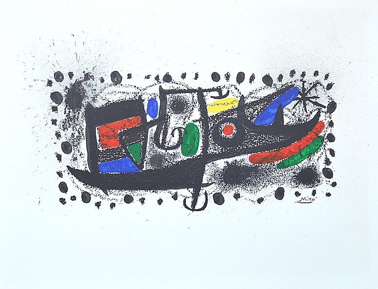 MIRO STARS SCENE  LITHOGRAPH PLATE SIGNED 19.5 X 25.75