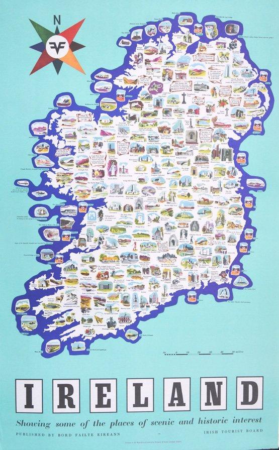 ANON.IRISH TOURIST BOARD IRELAND MAP SHOWING PLACES