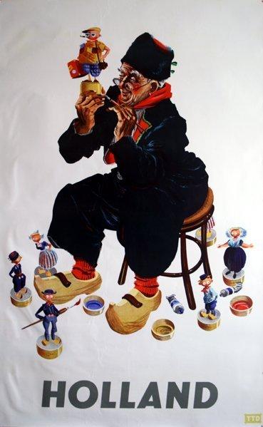 ANON holand colourful original vintage travel advertisi