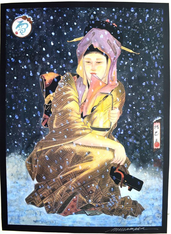 "MURAMASA KUDO (b. 1948) JAPANESE ""SNOW "" SIGNED"