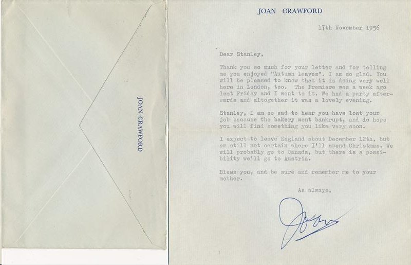 JOAN CRAWFORD SIGNED PERSONAL STATIONARY