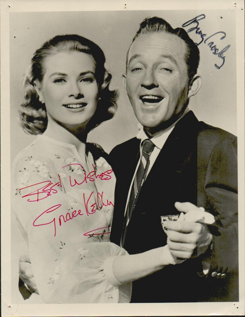 GRACE KELLY & BING CROSBY SIGNED 7 X 9 PHOTOGRAPH