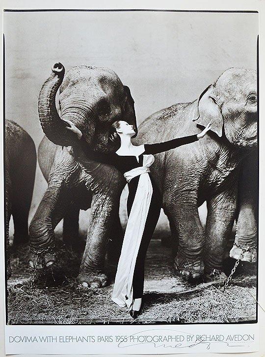 """RICHARD AVEDON """"DOVIMA WITH ELEPHANTS"""" SIGNED POSTER"""