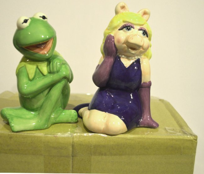 KERMIT & MISS PIGGY CERAMIC SALT & PEPPER JARS - 2