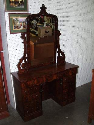 Victorian Burl Walnut Dresser