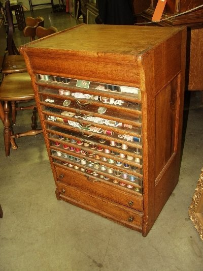 219: Tiger Oak Spool Cabinet