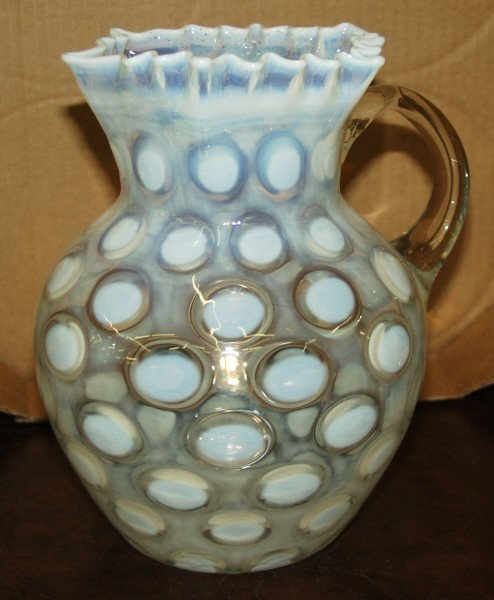 9: White Opalescent Coin Dot Pitcher