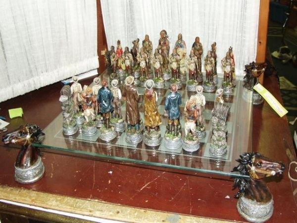 222: Cowboy & Indian Chess Set