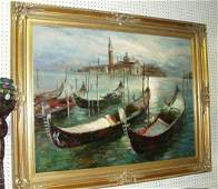 91: Framed Oil Painting of Gonelas by C Lausen