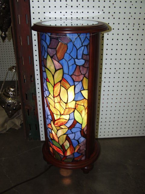 256: Lighted Leaded Glass Plant Stand