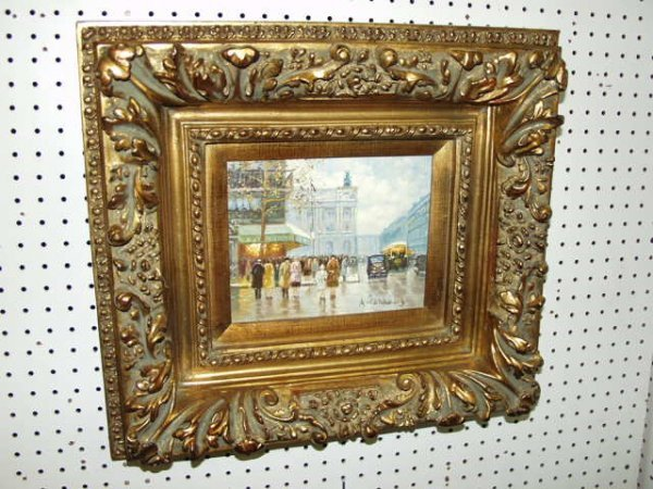 257: Framed Old City Scene Oil Painting, by A. Coharus