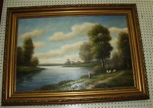 Oil Painting River Scene