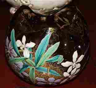 Hand Painted Art Glass Bowl