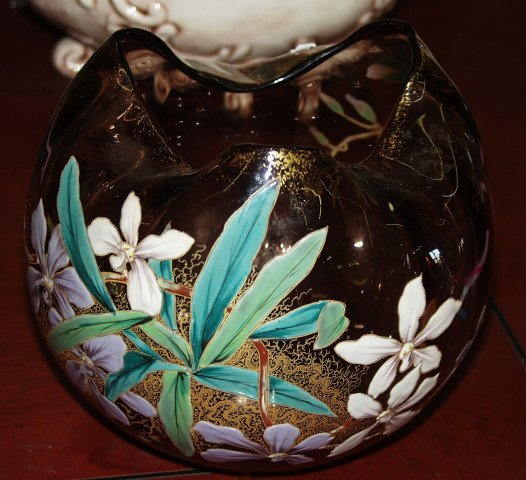 503: Hand Painted Art Glass Bowl