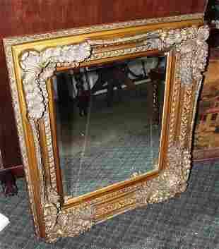 Gold Ornate Framed Beveled Mirror