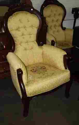 Mahogany Rose Back Upholsterd Chair