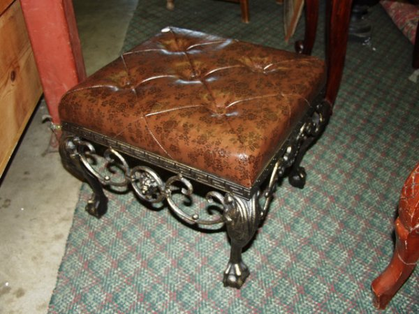 519: Cast Iron Leather Foot Stool with curved feet
