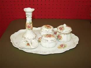 Porcelain Hand Painted Dresser Set