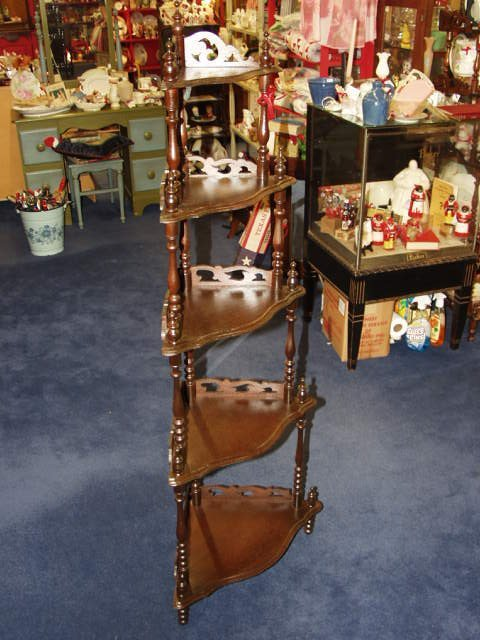1012: Walnut 5 Tier Corner Shelf