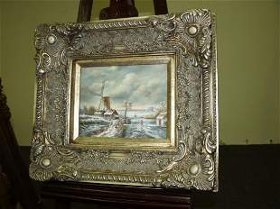 Oil Painting Of Dutch Windmill