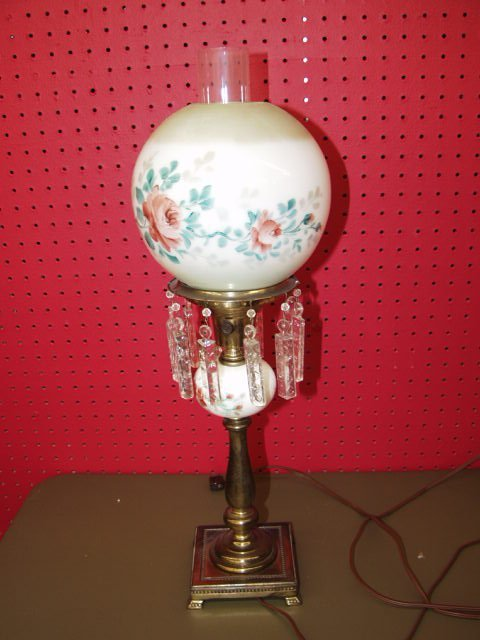 1018: Hand Painted Vintage Parlor Lamp
