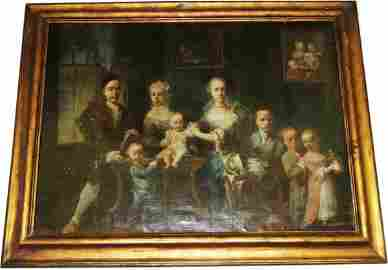 1053: Colonial Family Group Oil Painting 18th Century