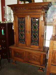 1106A:  Oak Highly Carved China Cabinet & Table 6 Chair