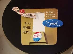 10: Pepsi Cardboard Bottle Display Circa 1950's