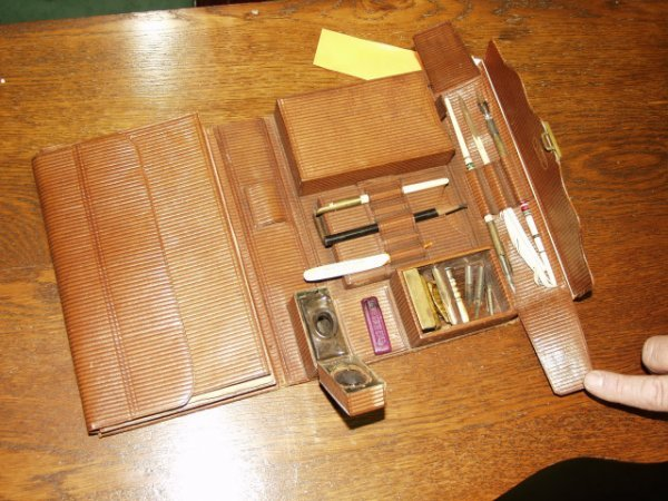 510: 1890's Antique Writing Set, Pens, Seal, Wax, Ink W